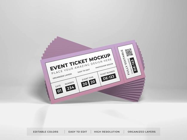 Primo piano sul mockup del biglietto evento realistico