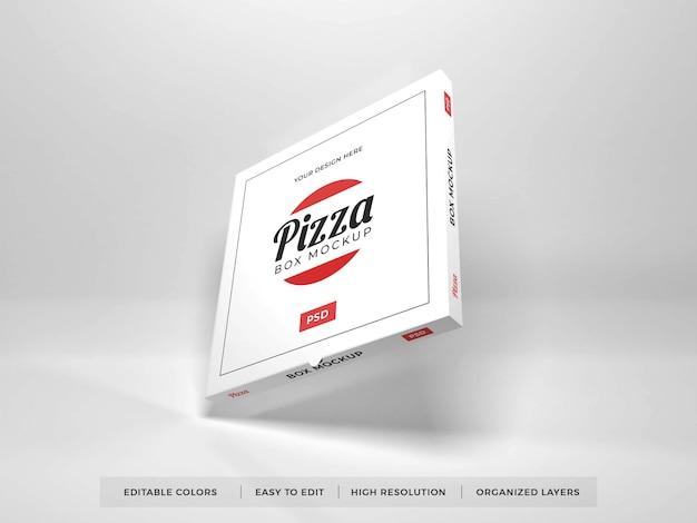 Chiuda in su mockup realistico della scatola della pizza