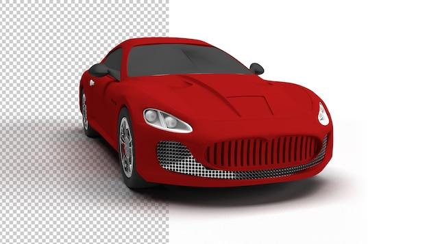 Primo piano sulla macchina rossa isolata nel rendering 3d