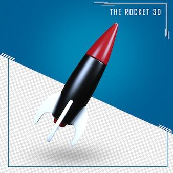 Primo piano sul rendering 3d razzo isolato
