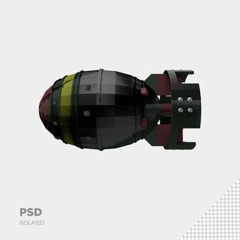 Primo piano sulla bomba a razzo isolata premium psd