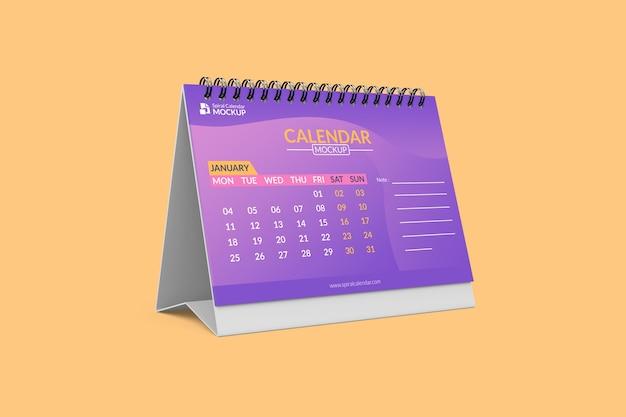 Primo piano sul mockup del calendario a spirale
