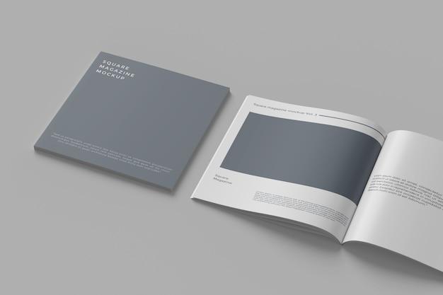 Primo piano sul mockup rivista quadrata isolato