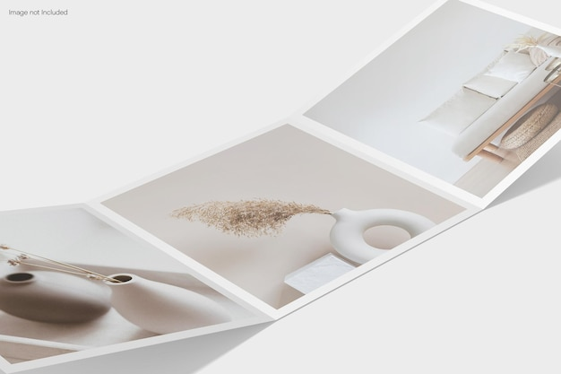 Primo piano quadrato a tre ante mockup design rendering isolato