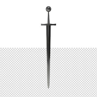 Primo piano sulla spada isolata premium psd