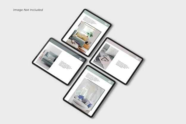 Primo piano sul dispositivo tablet mockup isolato