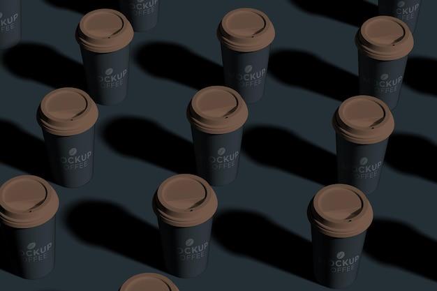 Primo piano sul modello di tazza di caffè in carta da asporto