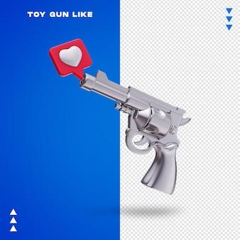 Primo piano sulla pistola giocattolo a forma di cuore che esce