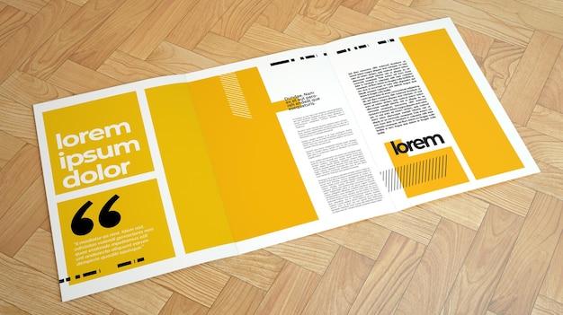 Primo piano sul modello di brochure a tre ante