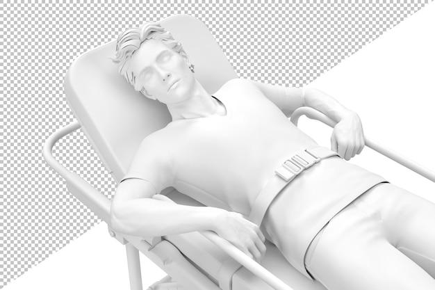 Primo piano del paziente incosciente sulla barella isolata