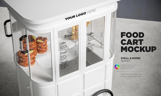 Vista ravvicinata mockup del carrello del cibo