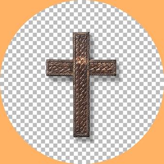Vista ravvicinata della vecchia croce santa in bronzo rustico isolata su trasparente.