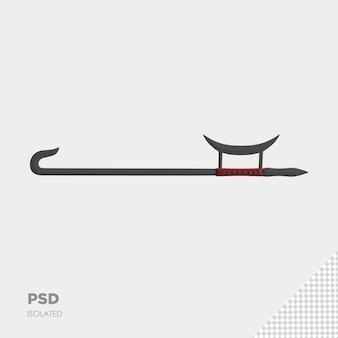 Primo piano sul rendering isolato della spada del guerriero