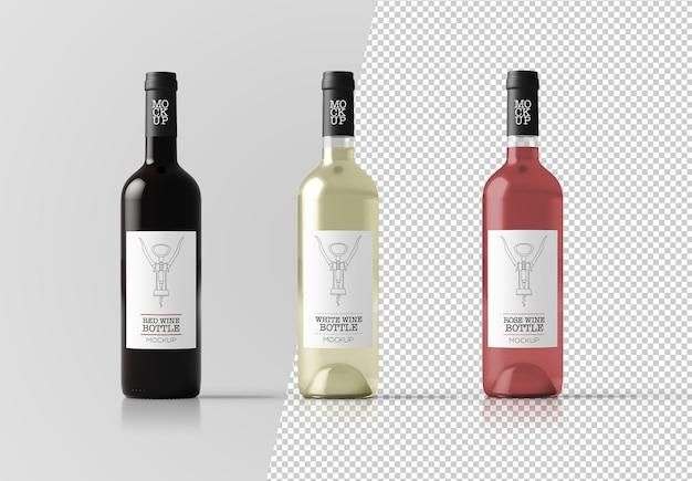 Primo piano sul mockup di bottiglie di vino