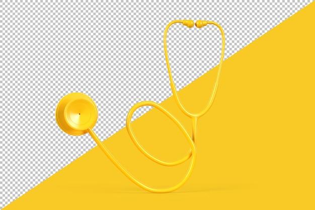 Primo piano dello stetoscopio giallo isolato