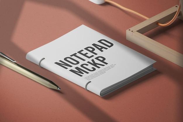 Design mockup blocco note chiuso nel rendering 3d