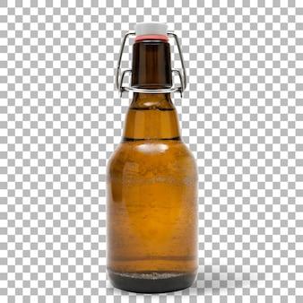 Birra fredda di vista del primo piano isolata con la bottiglia marrone.
