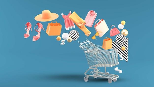 Vestiti, borse, tacchi alti, borse della spesa e cappelli galleggiavano sul carrello.