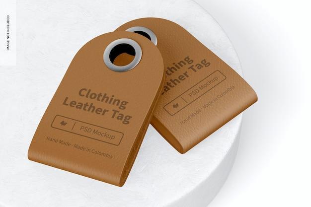Mockup di etichette in pelle per abbigliamento, impilate