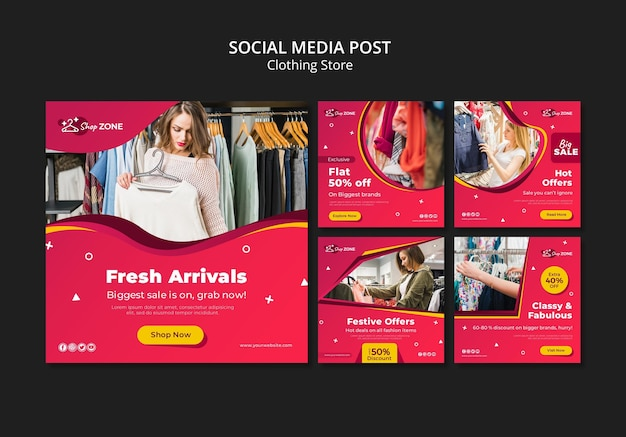 Modello di post sui social media di concetto di negozio di abbigliamento