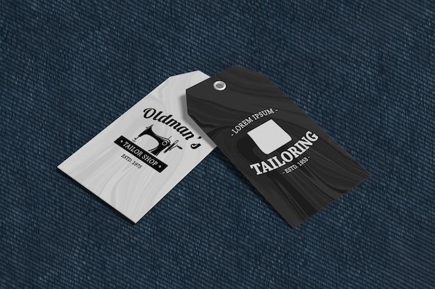 Mockup di prodotti tag abbigliamento