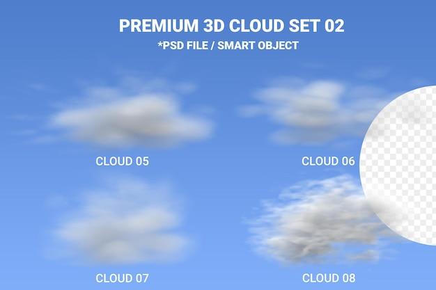Rendering 3d set cloud isolato
