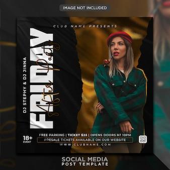 Modello di post sui social media e banner web per club dj party flyer