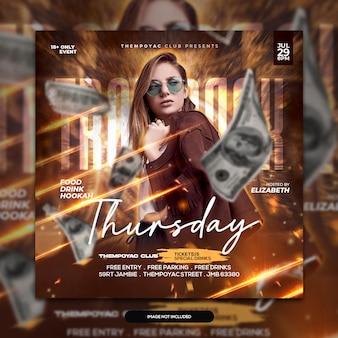 Club dj party flyer post sui social media e modello di banner web