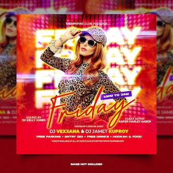 Volantino festa club dj post sui social media