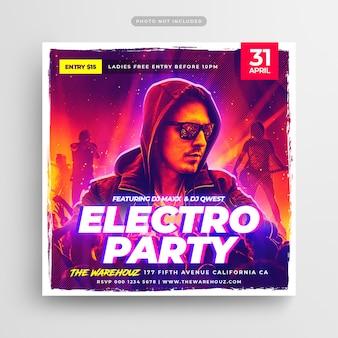 Modello di volantino o poster del club dj party square