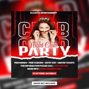Volantino festa club night dj post sui social media e banner web psd premium
