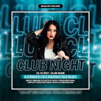 Volantino per feste notturne in discoteca o post sui social media