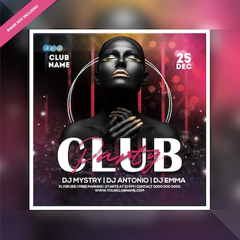 Volantino per feste notturne di club