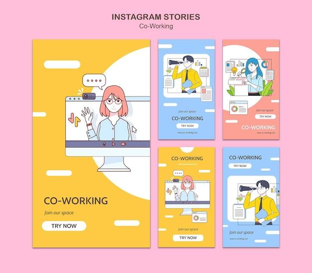 Storie di social media di co-working