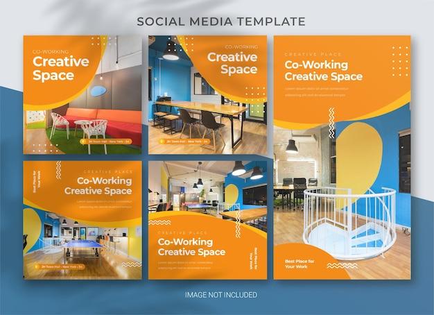 Spazio di coworking modello di pacchetto di social media business pack