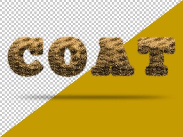 Ricopri il testo con una pelliccia 3d realistica