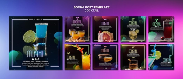 Modello di post social media concetto cocktail