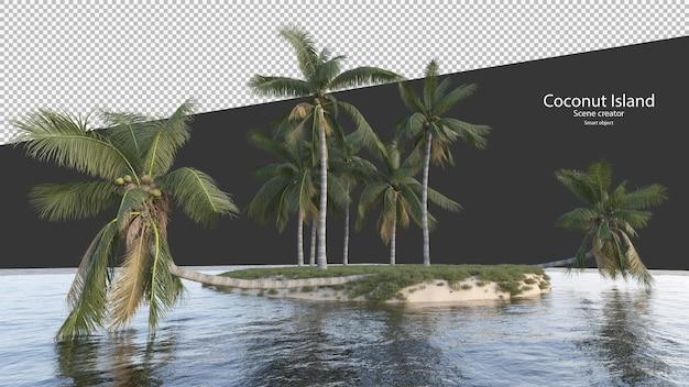 Albero di cocco in rendering 3d isolato sull'isola