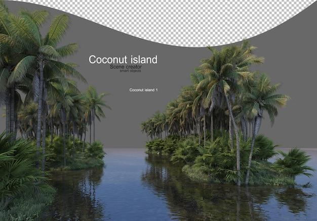 Isola dell'albero di cocco nel lago