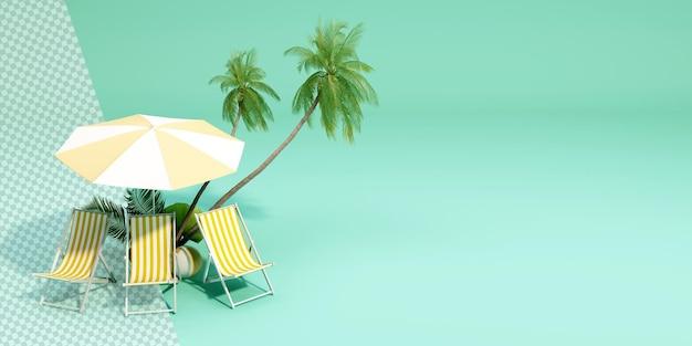 Alberi di cocco con sedia a sdraio nel rendering 3d
