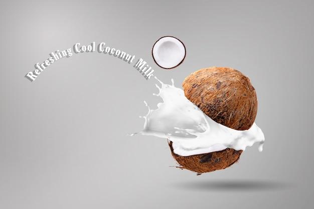 Spruzzi di noci di cocco e latte di cocco