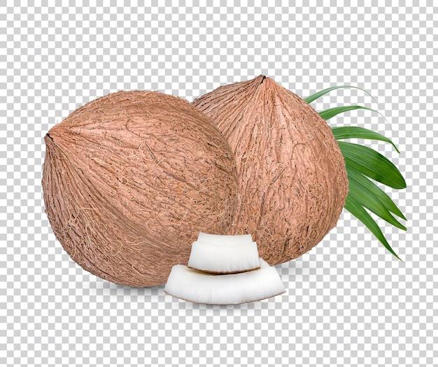 Noci di cocco e alcuni pezzi di foglie isolate psd premium.