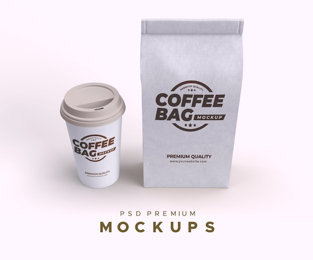 Borsa da caffè e cup mockup