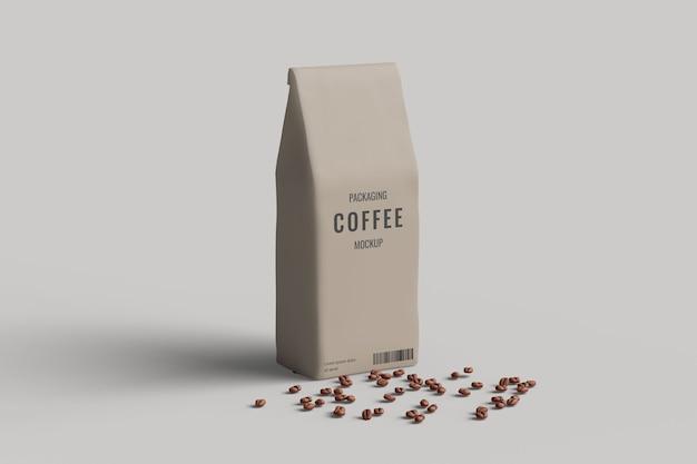 Mockup di borsa da caffè vista ad angolo sinistro con chicco di caffè