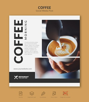 Modello della posta del instagram di media sociali dell'insegna del caffè