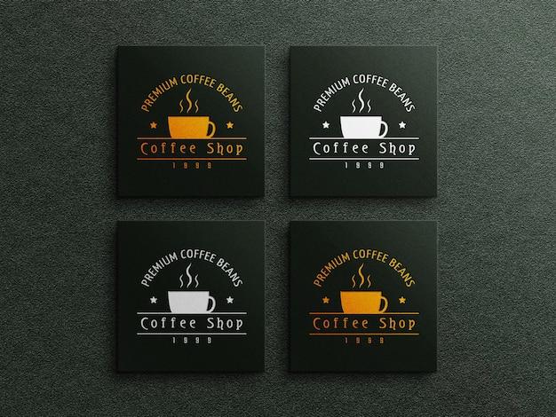 Mockup del logo del biglietto da visita del caffè con effetto in rilievo e in rilievo