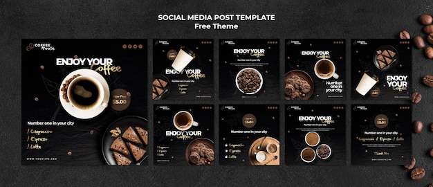 Modello di post sui social media del concetto di caffè