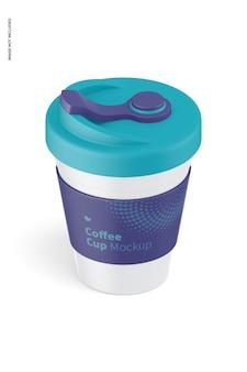 Tazza da caffè con coperchio mockup, vista isometrica da sinistra