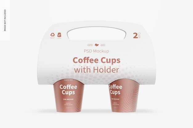 Mockup di tazze da caffè con supporto, vista frontale