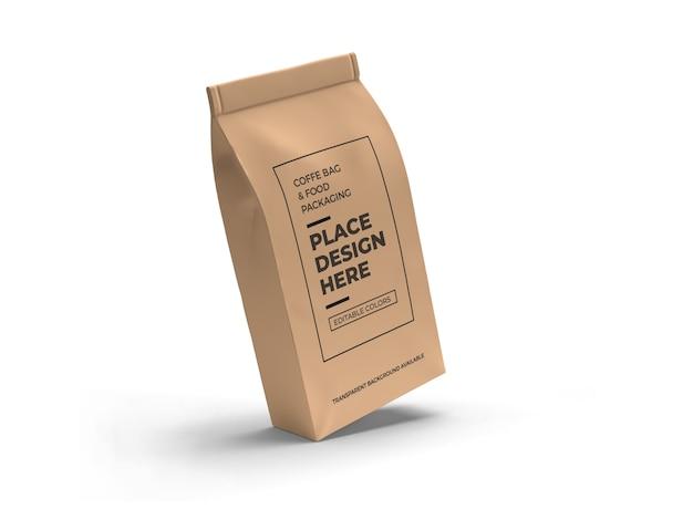 Design di mockup di imballaggio sacchetto di caffè e cibo isolato